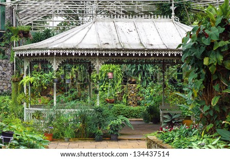 Pavilion in conservatory - stock photo