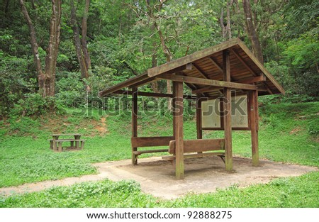 Pavilion in forest at day