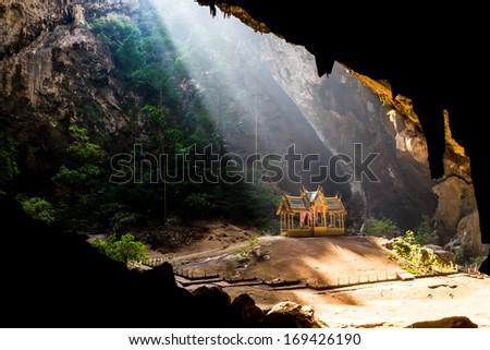 Pavilion in Phraya Nakorn cave nearby Hua Hin , National Park Khao Sam Roi Yot Thailand . - stock photo