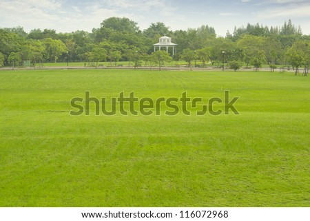 Pavilion in the park with green grass - stock photo