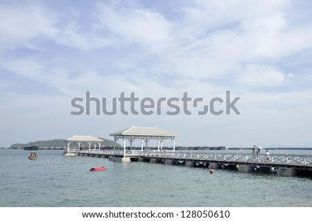 Pavilion Nature Sea Wood Day Outdoor - stock photo