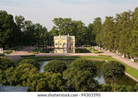 Pavilion near the pond in Tsarskoe Selo (Pushkin), Russia - stock photo