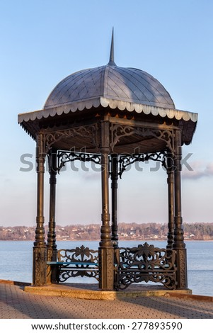 Pavilion on embankment of the river Volga in Kineshma. Russia - stock photo