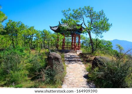 Pavilion on the Elephant Hill. Lijiang. Yunnan. China. - stock photo