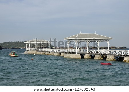 Pavilion Sea Wood Boat Day Outdoor - stock photo
