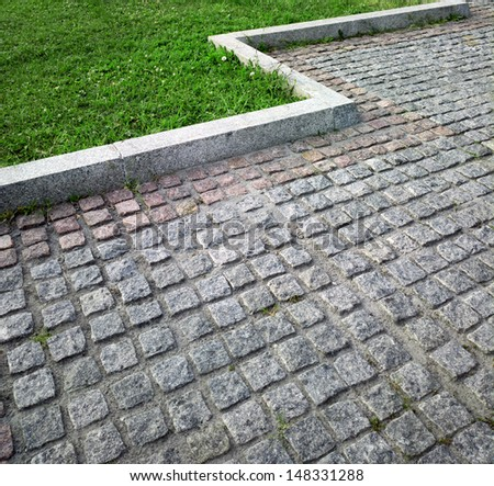 Paving and lawn. - stock photo