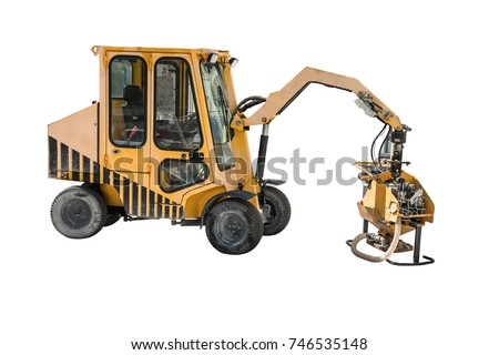 Paving slabs laying machinery -making. Isolated on a white background.