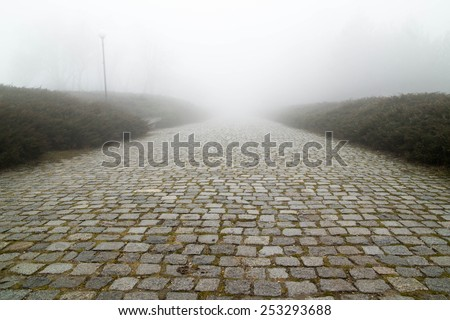 Paving stone road with fog ahead - stock photo