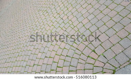 Paving stones and brick work in pedestrian area