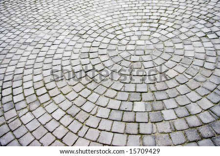 Paving stones laid out in a radial pattern - landscape exterior