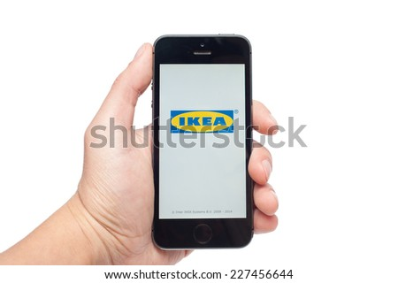 Pavlograd, Ukraine - October 31, 2014: IKEA is a multinational group of companies that designs and sells ready-to-assemble furniture (such as beds, chairs and desks), appliances and home accessories. - stock photo