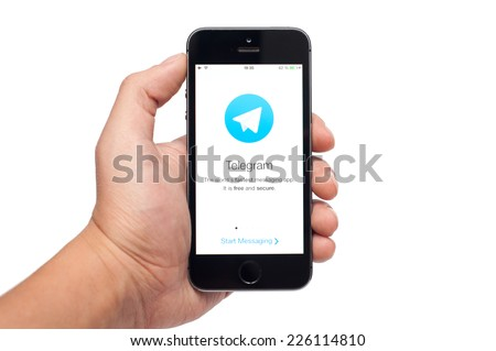 Pavlograd, Ukraine- October 25, 2014: Telegram is a messaging app with a focus on speed and security. It�¢??s superfast, simple, secure and free - stock photo