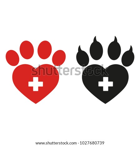 paw dog shape heart cross on stock illustration 1027680739