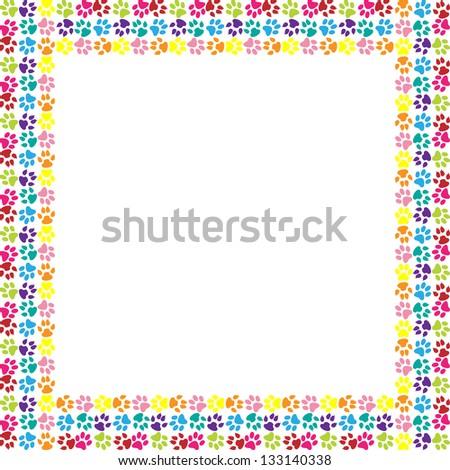 Paw print frame - stock photo