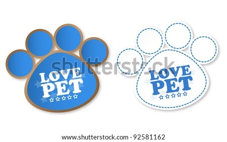 Paw print stickers with text love pet and stars - stock photo