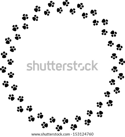 Paw Print Frame Embroidery Design