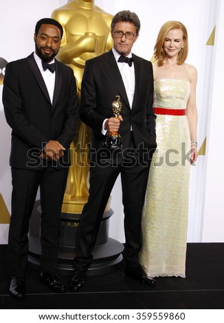 Pawel Pawlikowski, Chiwetel Ejiofor and Nicole Kidman at the 87th Annual Academy Awards - Press Room held at the Loews Hollywood Hotel in Los Angeles, USA on February 22, 2015. - stock photo