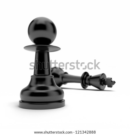 Pawn and king - stock photo