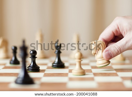 pawn capture, chess game - stock photo