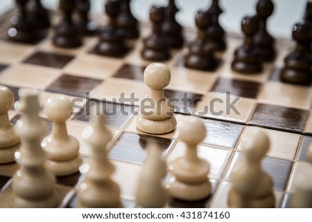 pawn opposition in the middle of the board . - stock photo