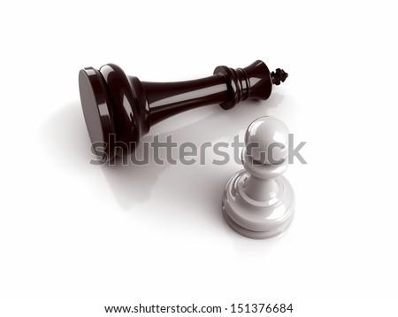 Pawn vs king - stock photo