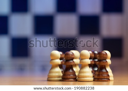 Pawns on chess board