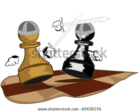 pawns with swords - raster version - stock photo