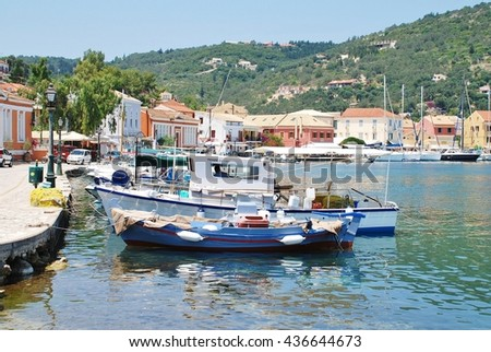 PAXOS, GREECE - JUNE 12, 2014: Boats moored in the harbour at Gaios. The town is the Capital of the 13km long island and is the main point of arrival for ferries from nearby Corfu island.