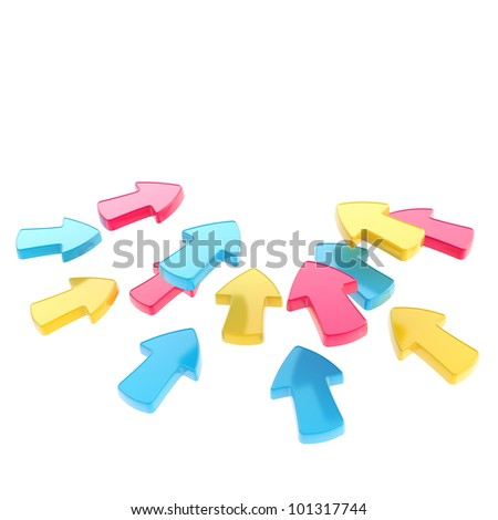 Pay attention: bunch of arrows pointing to the same place isolated on white - stock photo