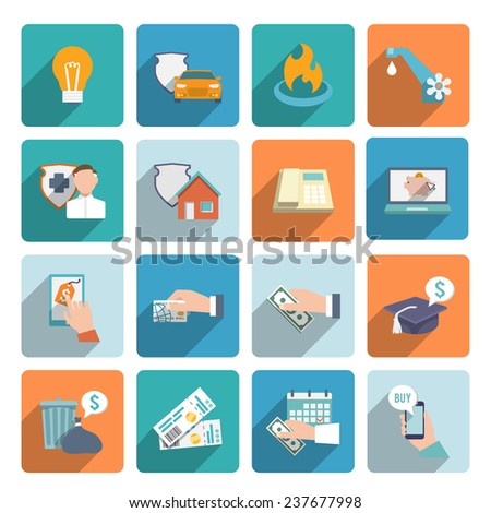Pay bill on-line transactions and shopping icons flat set isolated  illustration - stock photo
