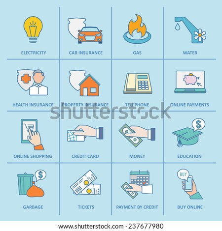Pay bill property taxes payment insurance icons flat line set isolated  illustration - stock photo