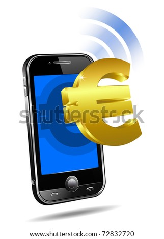 Pay by Mobile, Cell Smart Phone - raster version  - Mobile tariff and payment concept with money symbol for European Euro