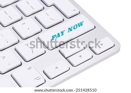 Pay now button on keyboard  - stock photo