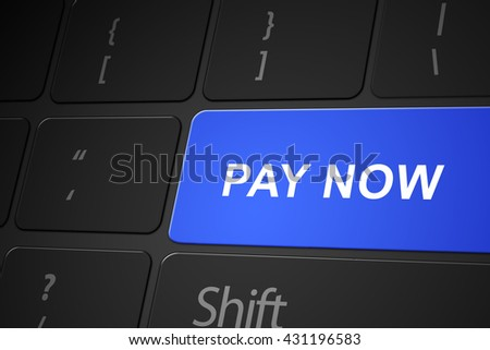 Pay now button on keyboard, 3d render
