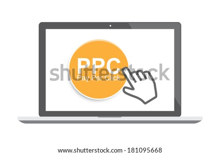 Pay per click concept illustration with laptop and cursor (rasterized version). - stock photo