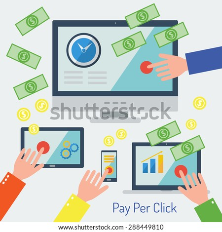 Pay per click internet advertising model when the ad is clicked. Flat design set of display, laptop, tablet computer and mobile phone template with applications (app) icons.  - stock photo
