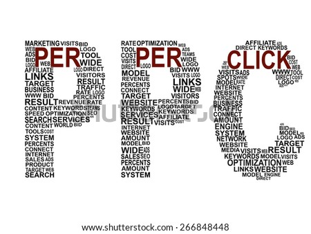pay per click related words in pay per click shape latter on white background. - stock photo
