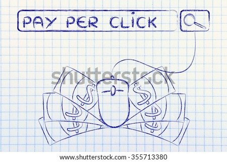 pay per click: web search bar with computer mouse and cash - stock photo