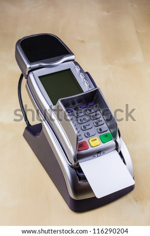 Pay with Smart Card with Electronic Chip at Pay Terminal - stock photo