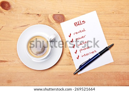 pay your bills- coffee  - stock photo