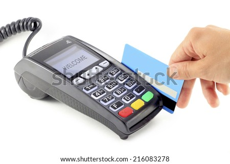 Paying credit card - stock photo