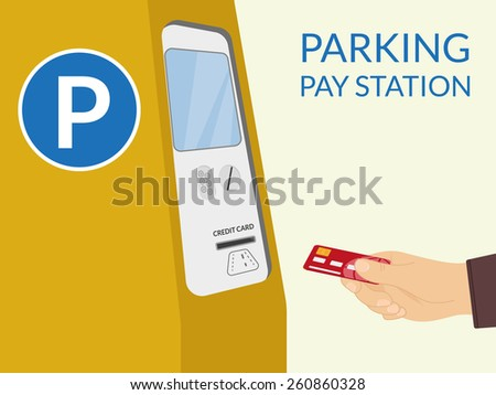 Payment by credit card at parking pay station - stock photo