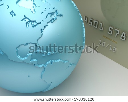 Payment concept. Credit card with a world map. - stock photo