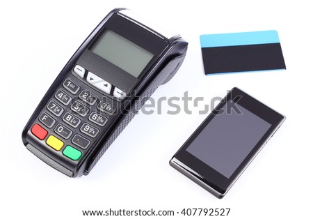 Payment terminal, credit card reader with mobile phone with NFC technology and contactless credit card, cashless paying for shopping, finance concept