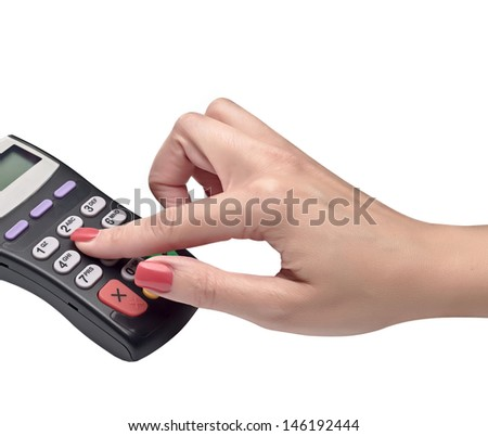 payment terminal, enter PIN on white background isolated