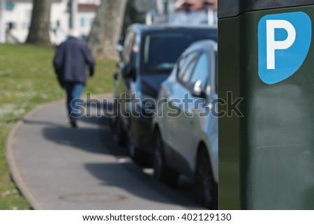 payment terminal parking - stock photo