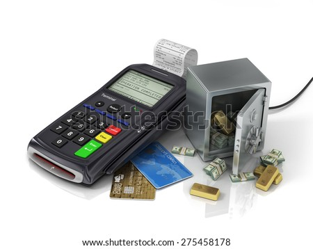 Payment terminal with credit card and safe with gold and money. Credit card reader, payment concept. - stock photo