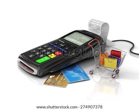 Payment terminal with credit card, money and shopping bag on white background, credit card reader, sales concept. - stock photo
