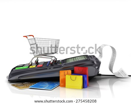 Payment terminal with credit card, shopping cart and shopping bag on white background, credit card reader, sales concept. - stock photo