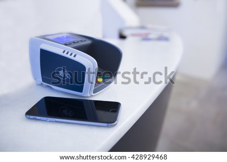 Payment terminal with smart phone at hotel reception